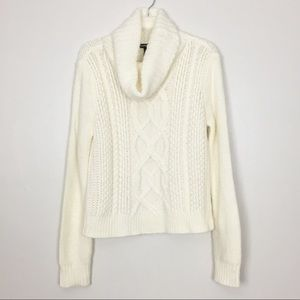Express Ivory Cowl Neck Cable Knit Sweater M